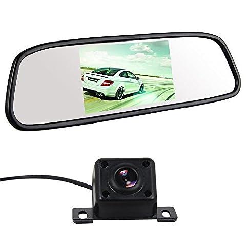 Buyee® 4.3 Zoll Monitor HD-Digital-LED Anti-Glare-Auto Rückspiegel TFT LCD Monitor Rückspiegel +170 ° Winkel Rückfahrkamera Kamera