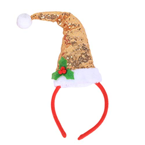 PRETYZOOM Weihnachten Stirnband Elf Hut Form Haarreif Weihnachtsfeier Cosplay Kostüm für Kinder Erwachsene (Golden)