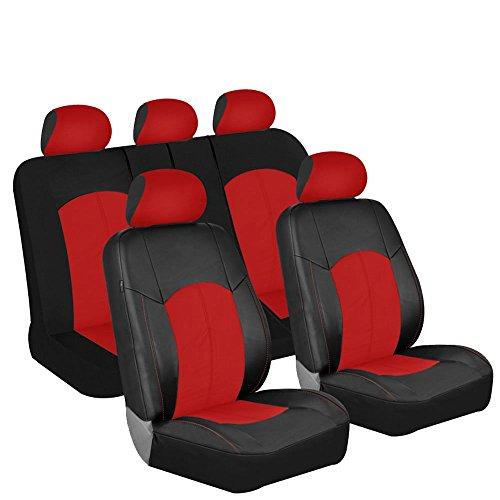 fh-pu008115perforiert Kunstleder Auto Sitzbezüge, Pink/Schwarz Farbe–Für die meisten Auto, LKW, SUV, oder Van (Autositzbezüge Für Ford-suv)