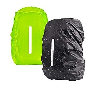 KATOOM 2er Regenhülle Rucksack Schulranzen Regenschutz wasserdichte Regenüberzug Ranzen Rucksackschutz für Outdoor…