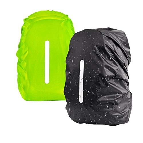 KATOOM 2er Regenhülle Rucksack Schulranzen Regenschutz wasserdichte Regenüberzug Ranzen Rucksackschutz für Outdoor Camping Wandern mit Reflektorstreifen Sicherheitshülle (schwatz+grün, M 30L-40L)