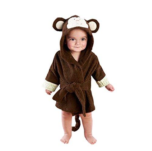 Casa Kinder Morgenmantel - Baby Bademantel mit Kapuze, Fleece Pyjamas Säuglings Kapuzenbademantel Bademantel mit Tiermotiven Affe 90cm