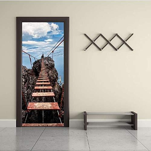 Schwarz Weiß Wasserfälle Natur Wand Tür Aufkleber DIY Wandbild Schlafzimmer Wohnkultur Poster PVC Wasserdichte Tür Sticker77X200Cm