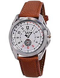 WM White Dial Brown Leather Strap Watch For Men And Boys AWC-009 AWC-009omtbg