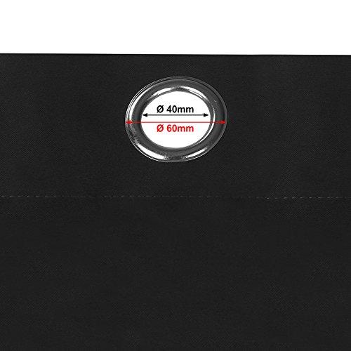 Songmics Verdunklungsgardine Gardin Vorhänge mit Ösen 145 x 245 cm schwarz LRB245H - 4