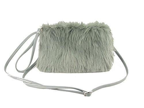 LONI Damen Kunst Pelz Clutch Tasche Schulter Crossbody Wristlet Handgelenkstaschen in Weiß Grau