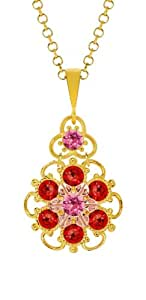Lucia Costin Silver, Pink, Red Crystal Pendant with Center Flower