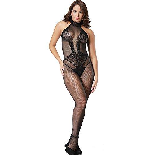 Q&Rm Frauen Geöffneter Gabelung Körper Strumpf Netz Netz Halter Floral Nachtwäsche Strumpfhosen Teddies Horsiery Super Elastische (China Kostüm Halloween Doll)