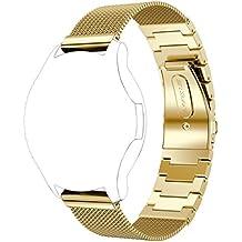 Correas para Samsung Gear S3 Amlaiworld Milanesas + pulsera de acero inoxidable correa de banda Smart Watch para Samsung Gear S3 (Oro, Para Samsung Gear S3)