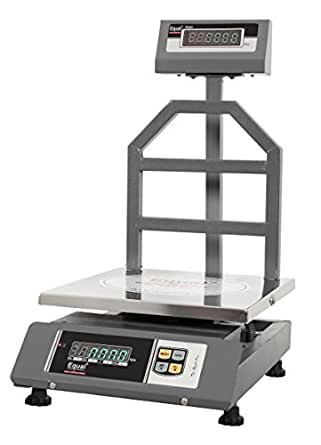 EQUAL Digital Weighing Scale, EIWS - 7, Bench Type, 50Kg, SS Platform, GREEN LED Display