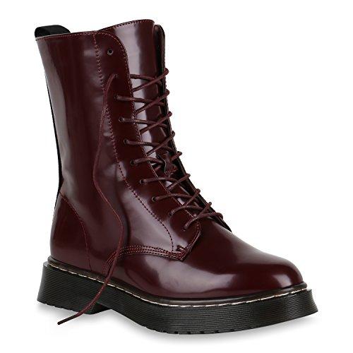 99aa966303de26 Stiefelparadies Damen Schuhe Stiefeletten Lack Stiefel Plateau Boots Coole  147539 Dunkelrot Agueda Lack 37 Flandell
