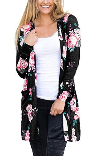 Ecowish Damen Blumenmuster Strickjacke Cardigan Langarmshirt Lose Oberteil Mantel Jacke Schwarz2 XL