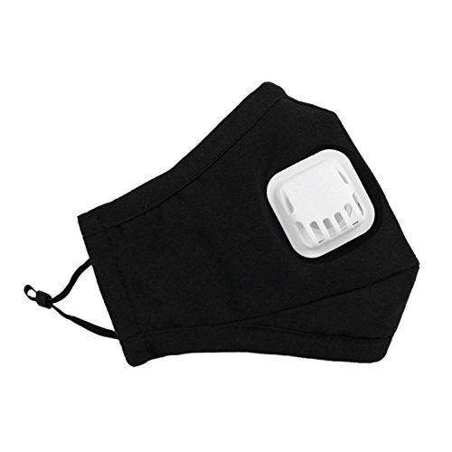 Lot de 3 Masques Extérieur Anti-poussière et Anti-haze/Anti-brume PM2.5 Masque en Coton Chaud avec Soupape de Respiration Soins de Santé Earloop Bouche Visage Unisexe pour L'automne et L'hiver