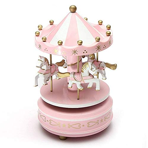 Carillon di giostra di Legno Carillon di Giocattoli per Bambini Compleanni di Nozze Regalo Carillon di giostra Musicale Fair-Up - Rosa