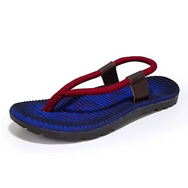 Slippers & amp da uomo; PU comfort estivo all'aperto piatto Heel Royal Blue Khaki rossa sotto 1in Sanda sandali US8.5-9 / EU41 / UK7.5-8 / CN42