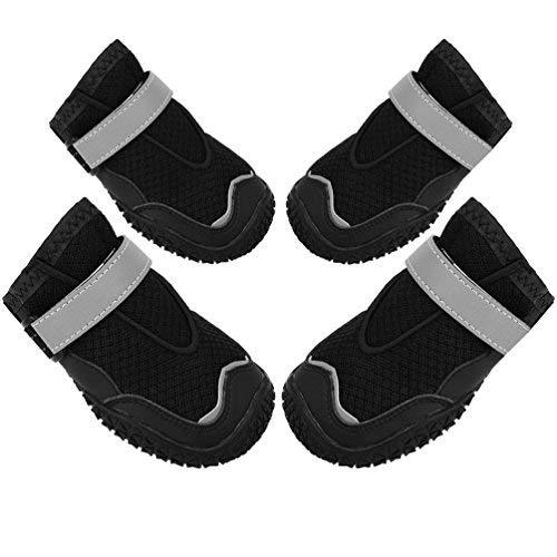 Petacc Ligero Malla de Perro Zapatos Antideslizantes Botas de Perro Respirable Protector de Pata de Mascota con Cinta Reflectante, Negro, 6#