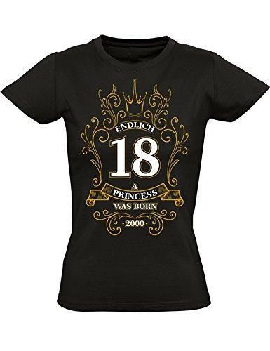 Endlich 18 - A Princess was Born - Geburtstags T-Shirt 18. Jahre - Geschenk Zum 18. Geburtstag - Jahrgang 2000 - Damen T-Shirt 18 Geburtstag Mädchen - Geburtstag-Shirt Frau 18 (M)