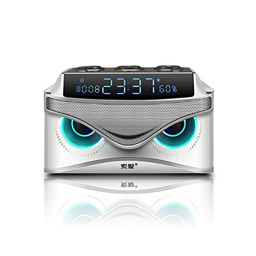 Wecker mit Bluetooth-Lautsprecher, digitaler Radiowecker mit Zwei Alarmen 19-W-Smart-Bluetooth-Lautsprecher/Micro-TF-Steckplatz/FM-Radio/AUX,Weiß