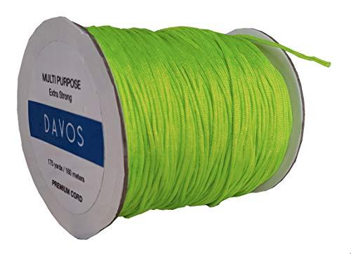Cuerda de nailon de 1,5 mm x 160 m para bisutería, collares de Shamballa, pulseras, cordón de elevación, cortina de ventana, manualidades, extra fuerte verde