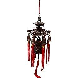 Striking tibetano Buda de la suerte en Pagoda dragón viento Bell con monedas y Mystic nudo para suerte, fuerza, abundancia, riqueza, la paz y el éxito (Feng Shui elemento, timbre de puerta o Decor.)