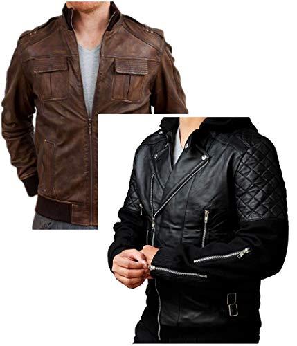 Western Fashions Männer, Frauen Chris Black Biker Bomber Stil Gesteppte Ärmel Mens Aviator aus echtem Leder Jacket-4xl Black Aviator Jacket