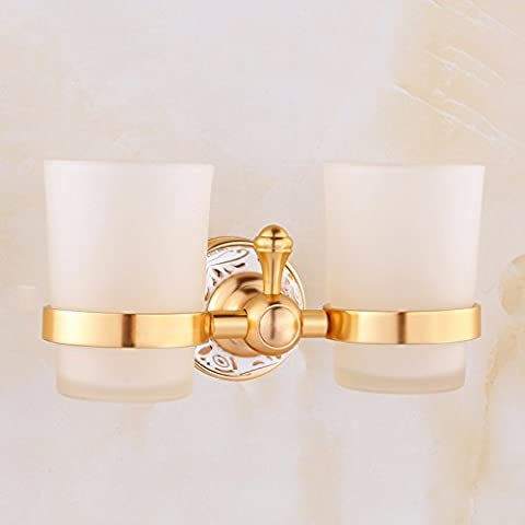 Mundwasser-Cup-Halter Glas Doppel-Pokal Rack Gold frei Nagel-Badezimmer-Anhänger, Drilling Keramik Doppel-Tasse