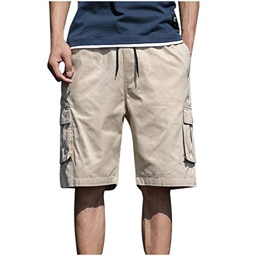 iHAZA Herren Sommer Freien Casual Patchwork Overalls Plus Size Sport Shorts Hosen Khaki Boot Fit Cord Hose