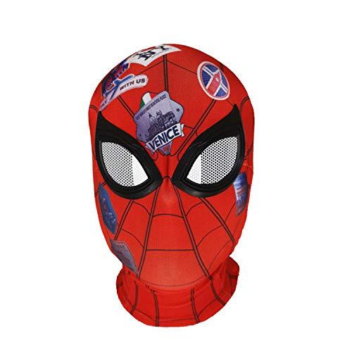 Rot Spiderman Kostüm - QWEASZER Spider-Man Far from Home, Peter Parker Rote Maske Kopfbedeckungen Marvel Avengers Spandex Vollkopfmaske Halloween Film Cosplay Kostüm Requisiten,Spiderman-OneSize