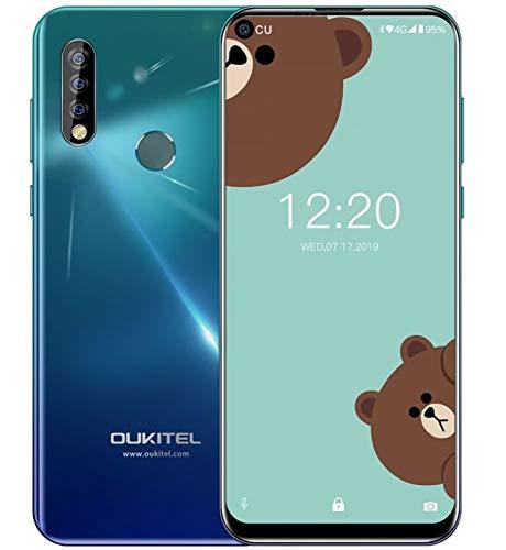 OUKITEL C17 Pro 4g Cellulare (2019) - Foro Cieco a Tutto Schermo da 6.35 Pollici, 4GB+64GB, Helio Octa Core DUAL SIM, Android 9.0 Smartphone,13MP Fotoamera Grandangolare, Batteria 3900mAh,Crepuscolo