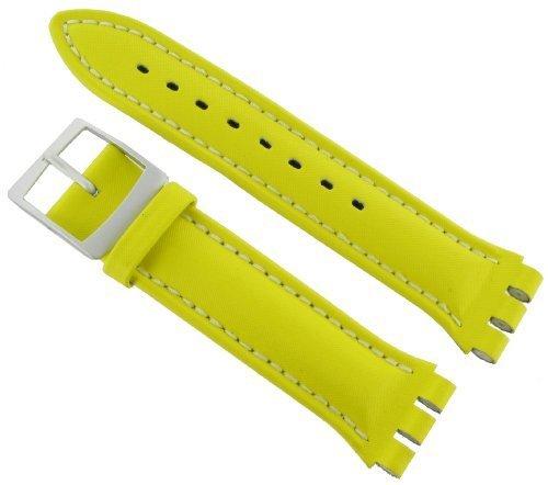 Hirsch Textil Uhren Armband Lionel, für Swatch Chronos in gelb, 23 mm, Stahlschließe