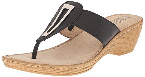 Bella Vita Sulmona Damen Breit Leder Keilabsätze Sandale Black