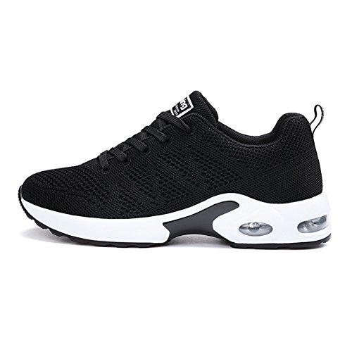 MIMIYAYA Women Men Air Running Shoes Sports Trainers Athletic Jogging Walking Fitness Gym Sneakers Fashionable Lightweight Black 39