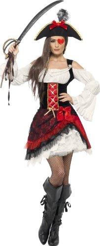 Smiffys Edles Seeräuberin Damenkostüm rot-Weiss-schwarz ()