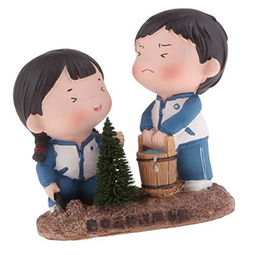 B Blesiya Mädchen und Junge Figuren Tischdeko, Geschenk für Kinder/Hochzeit/Geburtstag, Jahre Geschenk - Glücklicher Baum säen (Statue Garten Mädchen Kleines)