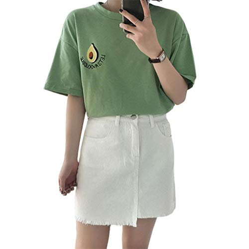 KINTRADE Mujer Chica Camiseta de Media Manga Lindo de Dibujos Animados Bordado de Aguacate Estilo de Muy Buen Gusto Estudiante Blusa Verano Fresco Harajuku tee Tops