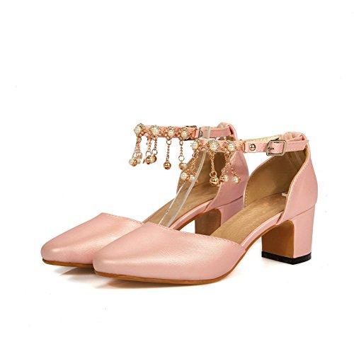 VogueZone009 Femme Carré Boucle Pu Cuir Mosaïque à Talon Correct Chaussures Légeres Rose