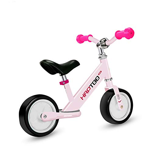 HAPTOO Leichtes Laufrad ab 1 Jahr aus Alu - Baby Lauflernrad Laufräder mit Rutschfester Fußstütze Höhenverstellbarem Sattel und Lenker, 7 Zoll Rosa