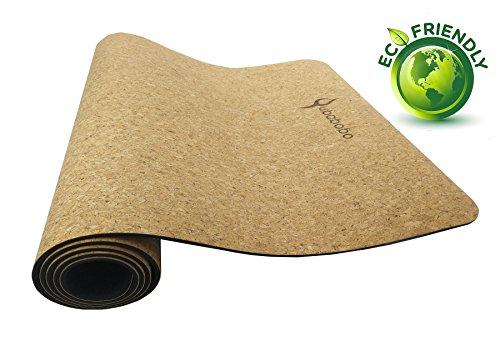 QUBABOBO Yogamatte TPE + Kork, Rutschfest Umweltfreundlich Pilates Matte für Gymnastik, Fitness, Workout mit Tragetasche und Gurt 4 mm, 5 mm, 6 mm 183 x 61cm
