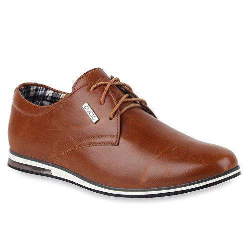Modische Herren Schuhe | Business Schnürer | Halbschuhe Sneakers | Prints Lederoptik Freizeitschuhe Braun Weiss