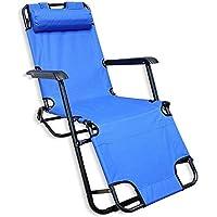 كرسي وسرير 2 في 1 للرحلات والتخييم قابل للطي - ازرق