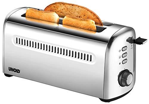 Unold 38366 Toaster 4er Retro, 1500 W, 2-Scheiben-Doppel-Langschlitz-Toaster, Edelstahl, 4 Funktionen, 7 Röstgrade, entnehmbare Krümelschublade, mit abnehmbarem Brötchenaufsatz