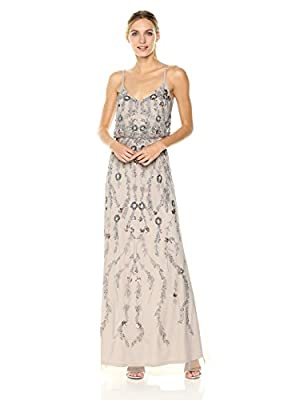 Adrianna Papell Women's Floral Beaded Long Blousson Dress Gown Special Occasion