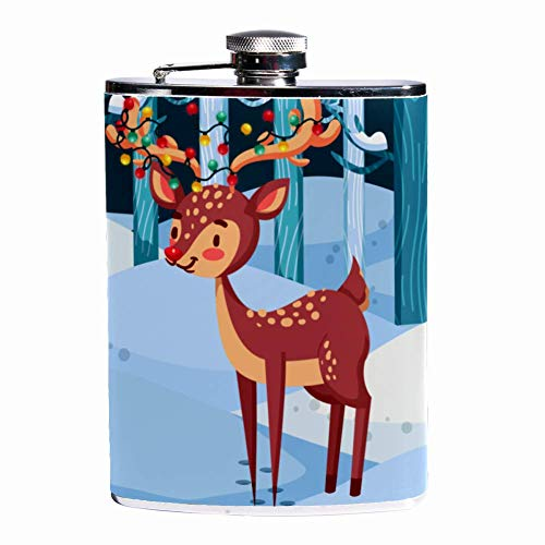 Silver Christmas Lights (Leak Proof Liquor Hip Flask 7.6 oz Flagon Mug Leather Cover with Winter Background With Reindeer And Christmas Lights print Pocket Container for Discrete Shot Drinking of Whiskey Alcohol Liquor)