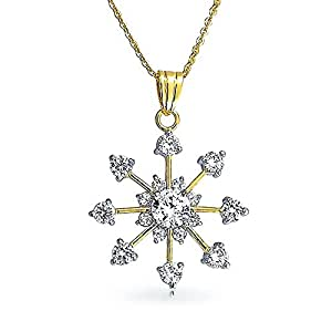 Bling Jewelry CZ Snowflake Pendant Gold Plated Necklace 16 Inches