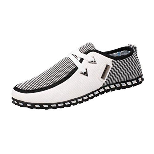 Sneaker Herren Low-Top Casual Freizeitschuhe Mischfarben Wohnungen Atmungsaktive Schuhe Schuhe Turnschuhe Freizeitschuhe (45, Weiß) -