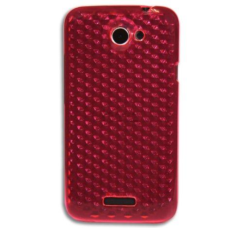 Luxburg® Diamond Design Schutzhülle für HTC One X / X+ in Farbe Rubin Rot, Hülle Case aus TPU Silikon