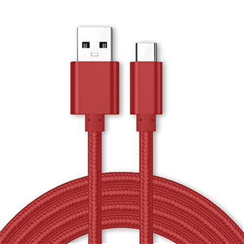 Kit Me Out Für Xiaomi Redmi Note 7 [3M] Datenkabel USB C Typ C Kabel [USB 3.0] Schnelles Aufladen und Synchronisation [3.1 Amp Schnellladekabel] Nylon Ladekabel - Rot Rot Micro Case