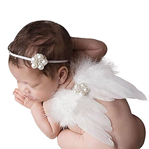 Weiß Fairy Baby Feder Engel Flügel Foto Requisiten Infant Newborn Toddler Baby Geschenk, Zubehör mit Elastic Pearl Strass Haarband Set