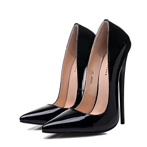 Aluk- scarpe da donna - scarpe sexy a tacchi alti a punta fine ( colore : black-16cm , dimensioni : 39-shoes long245mm )