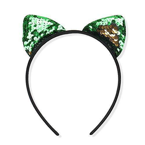 Haare Creolen Katze Ohren Haar Zubehör Fabala Pailletten Stirnband Haarband Glitzer (Rose Gold) - Grün Goldene